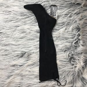 Shoes - Thigh high sued black boots with a clear heel.